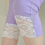 夏季外穿蕾丝打底裤 薄款弹力修身小脚七分裤