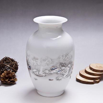蓝玉t-0007景德镇陶瓷花瓶雪景瓶