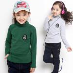 菲妮宝贝 2015新款男女童春装童装 小孩衣服儿童纯色高领打底衫
