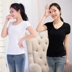 娇人圣典 女装短袖纯棉t恤 修身纯色上衣简约韩版打底衫 4色可选