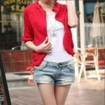 七婵 2015春装新款女装 韩版镂空短款披肩薄外套针织衫开衫毛衣 5色可选