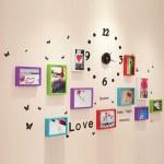 彩云边 欧式钟表照片墙 彩色挂钟相片墙 创意画框组合相框墙 4款可选