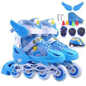 酷旋小子 溜冰鞋儿童全套装旱冰鞋轮滑鞋滑冰鞋男女可调闪光