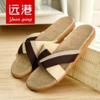 远港 男女情侣亚麻拖鞋 家居室内地板凉拖鞋 夏季居家防滑拖鞋 10色可选