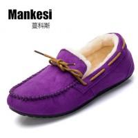 蔓科斯 冬季女鞋 加绒豆豆鞋 平跟软底棉鞋 妈妈鞋 休闲鞋 保暖毛毛鞋 6色可选