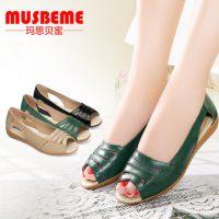 MUSBEME 妈妈凉鞋真皮软底低跟鱼嘴鞋大码中老年女鞋防滑夏季妈妈鞋 3色可选