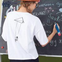 秋壳 秋季新款纯棉宽松女式T恤 五分袖中袖t恤 多款多色可选