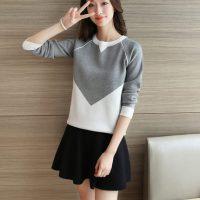 懿彩 2016秋季女装韩版新款宽松套头毛衣拼色针织衫长袖学生装 4色可选