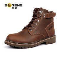 Serene西瑞 男士英伦风马丁靴 靴子 真皮沙漠军靴 工装鞋 高帮男靴 短靴 多色两款可选