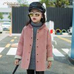 明优 女童新款冬季仿麂皮绒羊羔绒2016童装外套中大童韩版大码长袖大衣 2色可选
