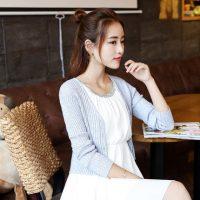 暖名扬 16新款春秋纯色v领开衫短款外套针织衫空调衫外搭披肩毛衣 5色可选