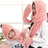 佳禾兴 亲子保暖毛毛绒儿童成人秋冬天男女童帽子围巾手套三件套一体围脖 多色多款可选