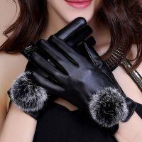 炬娇典 皮手套女士秋冬季兔毛球加绒加厚保暖防风骑车可爱韩版学生 7色可选
