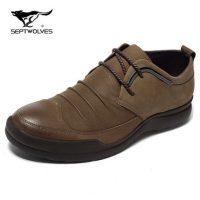 七匹狼 户外休闲鞋系带男鞋 冬季新款耐磨防滑真皮鞋运动鞋徒步鞋 2色可选