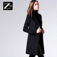 ZK 修身中长款呢子大衣毛呢外套薄呢妮子欧洲站2016秋冬装新款女装 2色可选