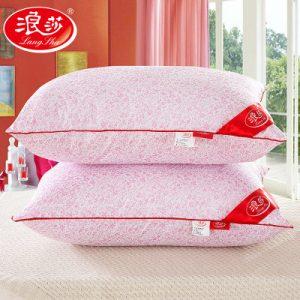 浪莎 樱花枕 日式五星级酒店枕头枕芯 成人羽丝绒护颈椎枕2个一对