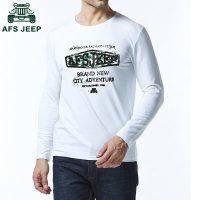 Afs Jeep战地吉普 男士长袖t恤纯棉圆领印花打底衫宽松加大码男装