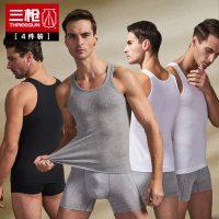 THREEGUN三枪 男士背心纯棉运动紧身跨栏健身内衣大码修身型打底汗衫 4件
