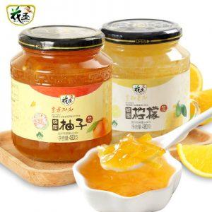 花圣 蜂蜜柚子茶480g+柠檬茶480g 冲饮品韩国进口风果味茶酱 送杯勺
