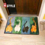 一橙 日式猫咪地垫 厨房卧室卫生间卫浴室进门门垫 卡通吸水床边脚垫子 400*600mm