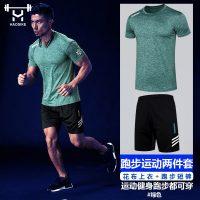 浩斯客 健身套装速干透气弹力t恤男宽松运动套装两件套夏季跑步服