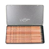 MARCO马可 7001-12TN 素描铅笔套装原木绘画铅笔铁盒装美术用品 12支装