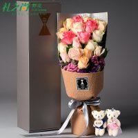 礼之尚 全国送花红玫瑰花康乃馨礼盒花束生日鲜花速递同城上海北京广州 11枝 三色可选