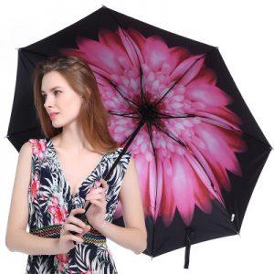 梦莎德 太阳伞遮阳防晒防紫外线黑胶小黑伞三折叠女韩国小清新晴雨伞两用