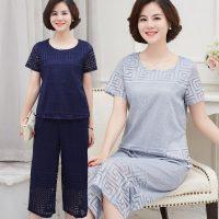 摩尼树 中老年女装夏装短袖套装中年人T恤40-60岁妈妈装两件套奶奶衣服