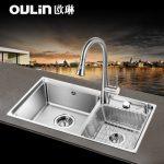 Oulin欧琳 OL-HT820 台控水槽双槽套餐 厨房洗菜盆 304不锈钢水槽双盆加厚