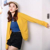 樱思 2017新款长袖针织衫女春秋外搭加厚韩版宽松纯色开衫毛衣外套 多色可选