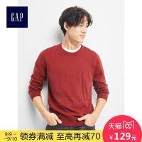 Gap男装 简约纯色圆领针织衫843087 Y