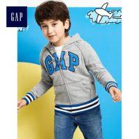 Gap男童 徽标系列时尚袋鼠口袋柔软拉链连帽卫衣880037 Y