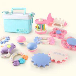 仙邦宝贝 婴儿玩具牙胶摇铃可水煮宝宝益智新生儿手摇铃 10件套