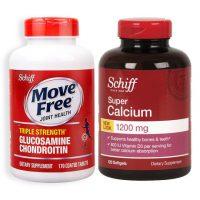 美国进口Schiff Move Free益节 氨糖维骨软骨素红瓶170粒+舒钙软胶囊120粒