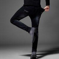 狼客犀牛 高弹力黑色牛仔裤男冬季修身小脚男裤青年大码休闲长裤子 多色可选