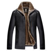 独霸保罗 加绒加厚立领皮衣男冬装中年爸爸装外套中老年冬季夹克