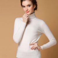 领越 2017秋冬新款高领毛衣女修身套头短款大码针织打底衫纯色羊毛衫 9色可选