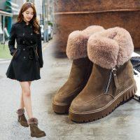 oyixu 内增高雪地靴女冬季2017新款短筒短靴学生韩版加绒保暖棉鞋 3色可选